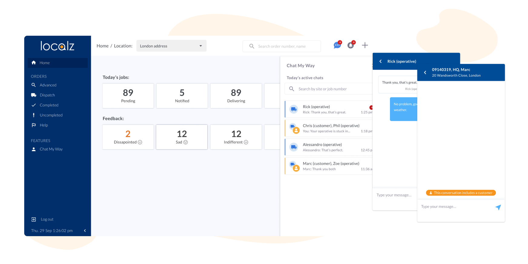 Localz Manage My Workforce dashboard group chat