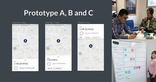 Prototypes A, B and C comparison and user testing photos