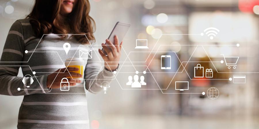 Women using her mobile for online shopping